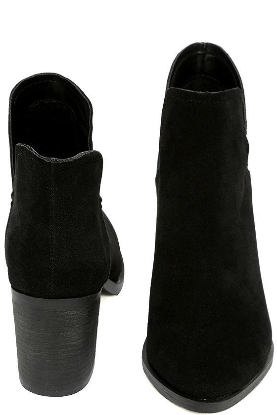Ezra Black Suede Ankle Booties 3