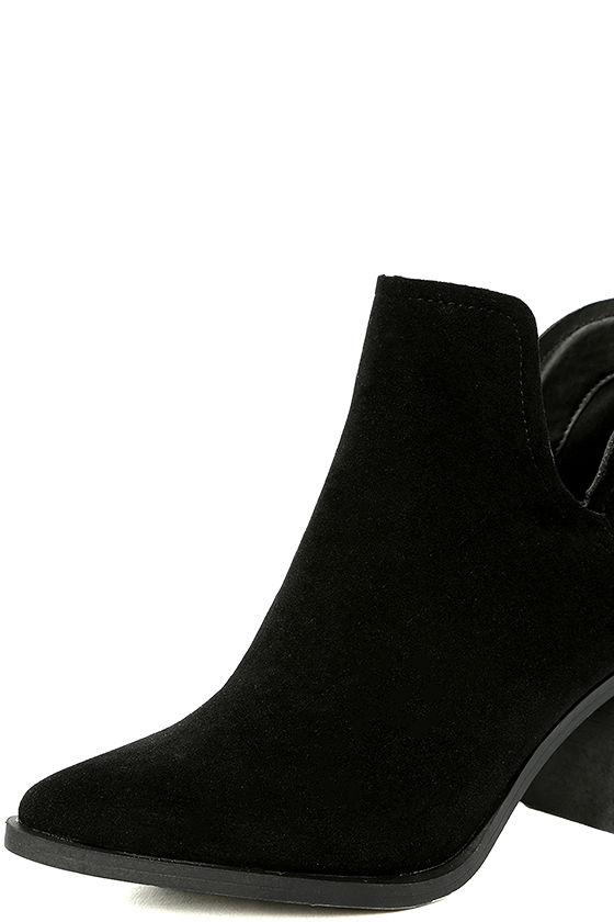 Ezra Black Suede Ankle Booties 6
