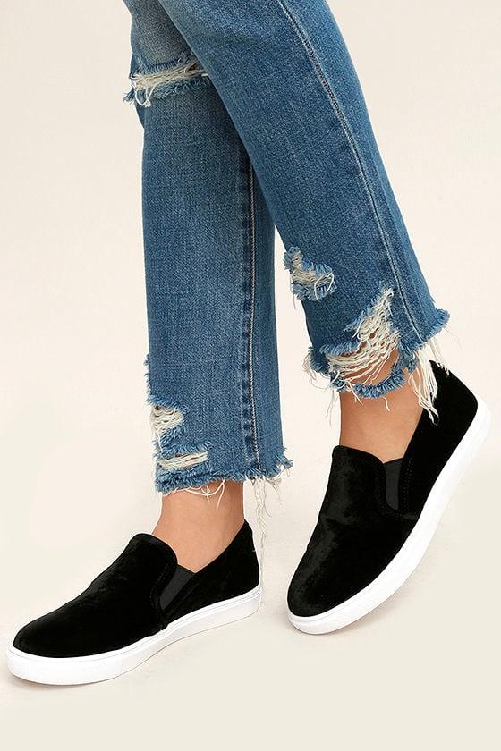 cbb454324e897 Steve Madden Ecntrcv Sneakers - Black Velvet Sneakers - Slip-On Sneakers -   59.00