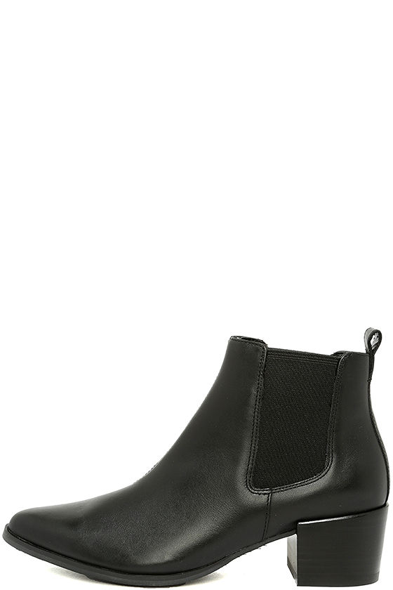 6391793a7a3 Steve Madden Vanity Boots - Black Leather Booties - Pointed Ankle Booties -   109.00