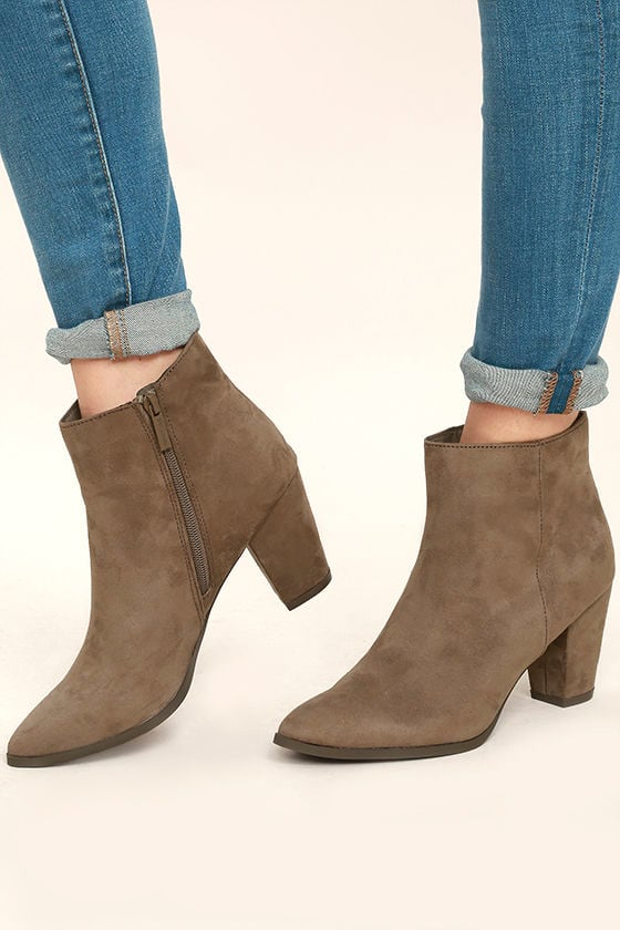 Ryleigh Taupe Suede Ankle Booties 1