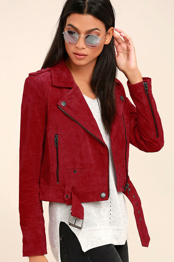 Blank NYC Backhanded Red Suede Leather Moto Jacket 1