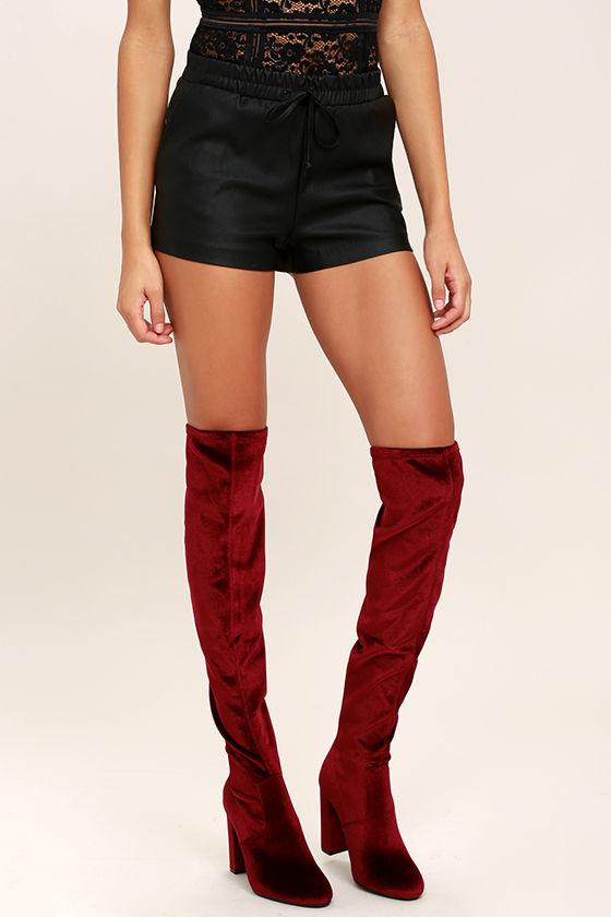 69bc236bf08 Steve Madden Emotionv - Burgundy Velvet Boots - Over the Knee Boots