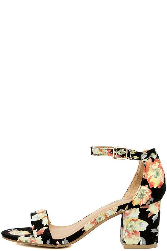 a12d065cb9 Cute Black Floral Print Heels - Ankle Strap Heels - Block Heels - $30.00