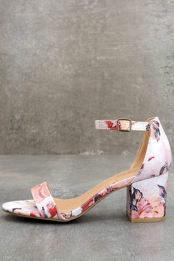 3cc86a9ab Cute Blush Floral Print Heels - Ankle Strap Heels - Block Heels -  30.00