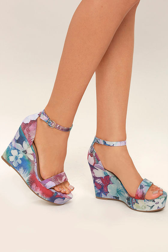 d4f1b54c19f Fun Multi Print Wedges - Purple Floral Print Wedges - Ankle Strap Wedges -   36.00