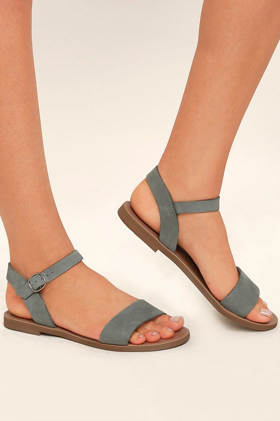 3bd1f98ed06 Cute Blue Grey Sandals - Leather Sandals - Flat Sandals -  59.00