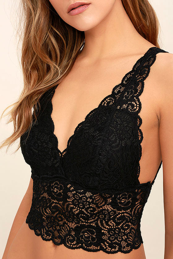 It Was All a Dream Black Lace Bralette 4