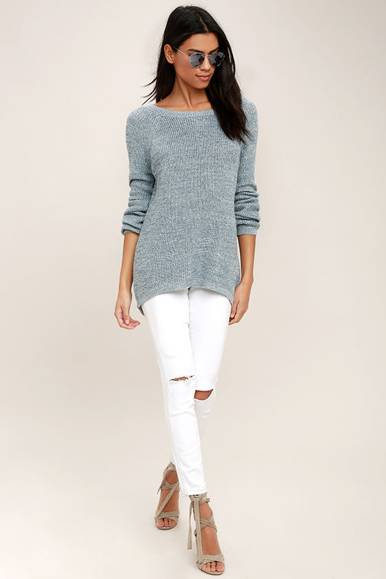 Pursuit of Happiness Heather Blue Backless Sweater 2