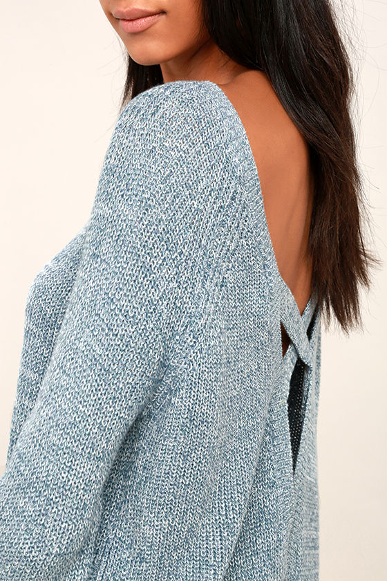 Pursuit of Happiness Heather Blue Backless Sweater 5