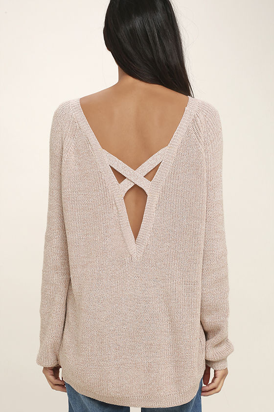 Pursuit of Happiness Beige Backless Sweater 4