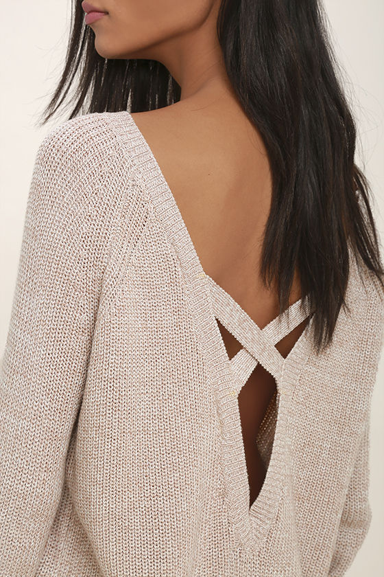 Pursuit of Happiness Beige Backless Sweater 5