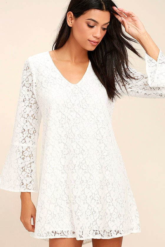 Lucy Love Wild Child White Lace Long Sleeve Dress 1