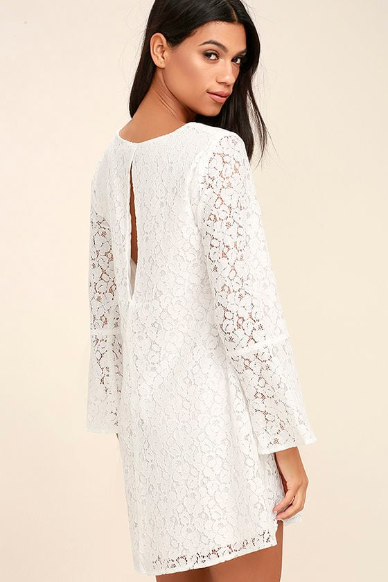 Lucy Love Wild Child - White Dress - Lace Dress - Long Sleeve ...