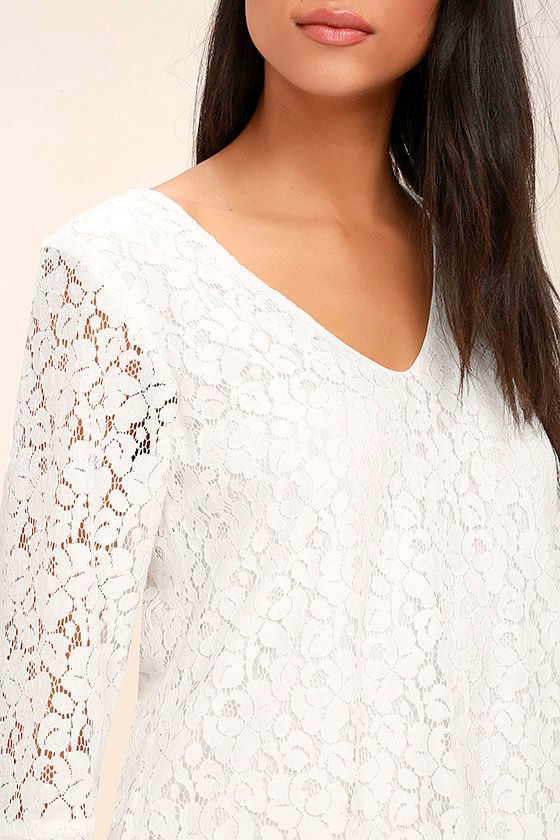 Lucy Love Wild Child White Lace Long Sleeve Dress 5