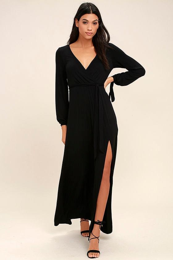 Lovely Black Dress Maxi Dress Long Sleeve Maxi Dress 6800