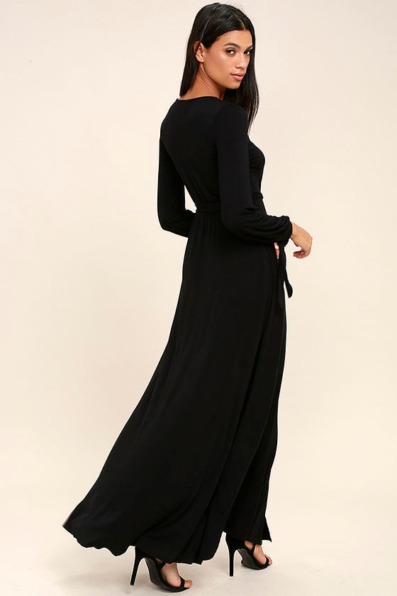 lovely black dress - maxi dress - long sleeve maxi dress - $68.00