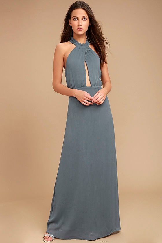 Beyond Explanation Slate Grey Maxi Dress 1