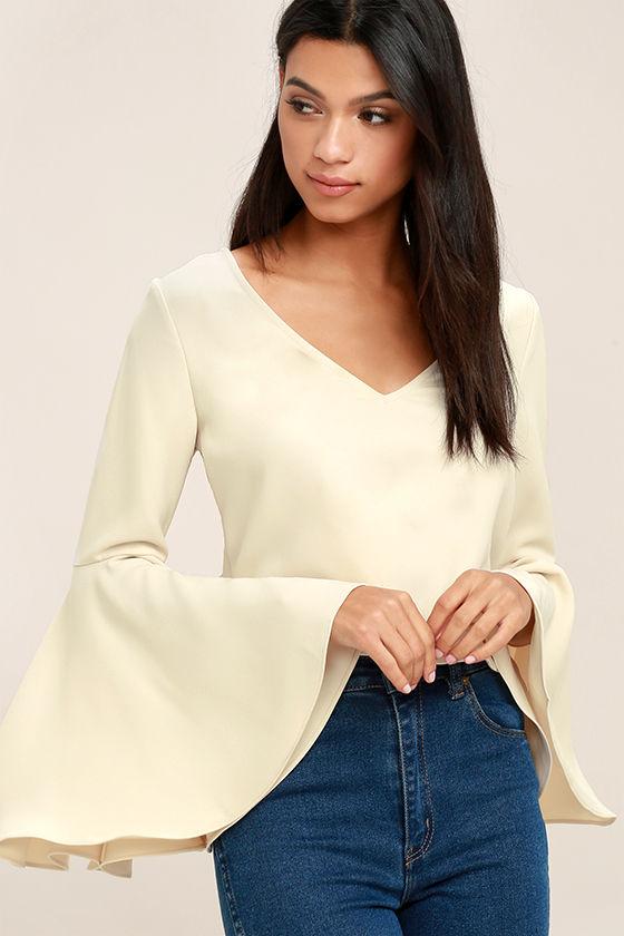 Bell Sleeve Crop Top Cream Crop Top Long Sleeve Crop