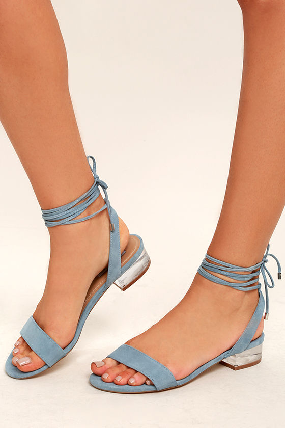 Steve Madden Carolynn Blue Suede Leather Lace-Up Lucite Sandals 1