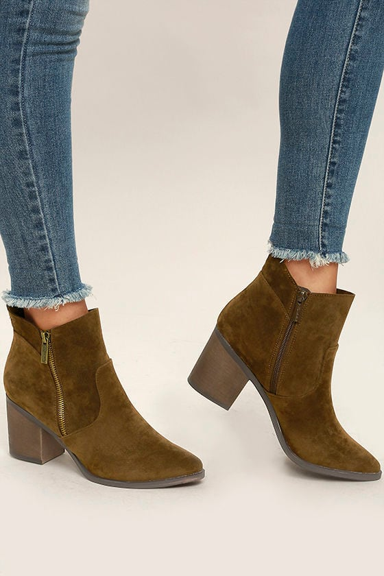 2c62cdef89dae Cute Brown Booties - Vegan Suede Booties - Ankle Booties -  37.00