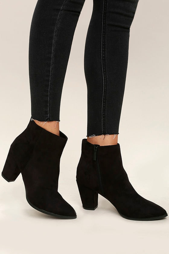 Ryleigh Black Suede Ankle Booties 2