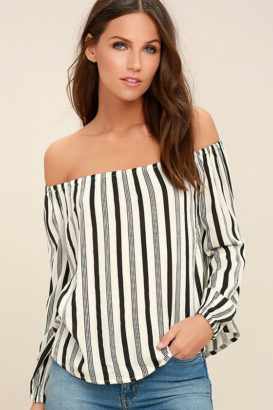 6dd13cebe8a580 Billabong Mi Amore - Black and White Striped Top - Off-the-Shoulder Top -   49.95