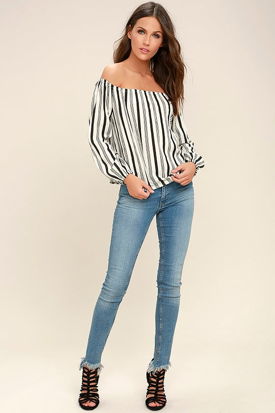 179d793282a4f Billabong Mi Amore - Black and White Striped Top - Off-the-Shoulder ...