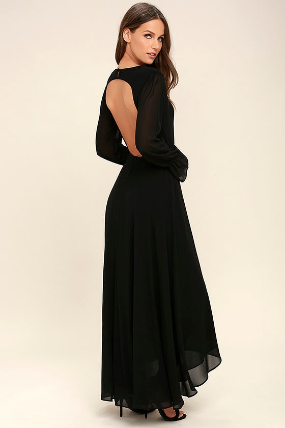 Stunning Black Maxi Dress Backless Maxi Long Sleeve Maxi 5800