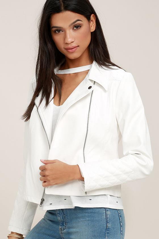 bef7f7b5 Jack by BB Dakota Blossom - White Moto Jacket - Vegan Leather Jacket -  $71.00