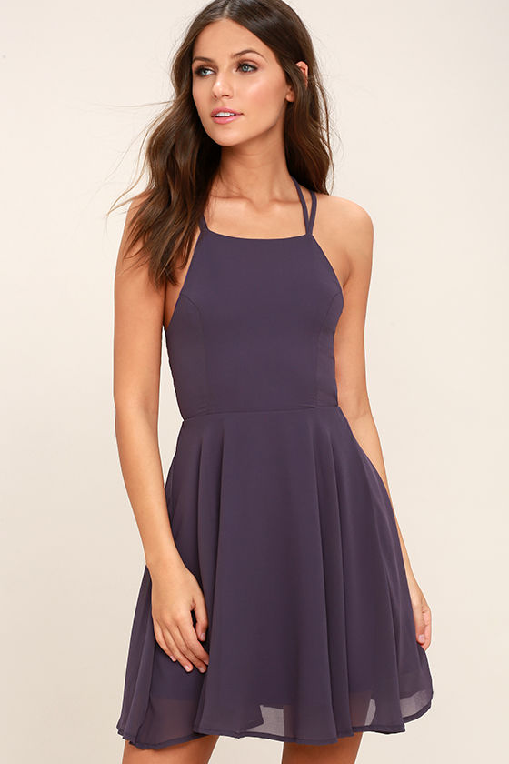 Good Deeds Dusty Purple Lace-Up Dress 3