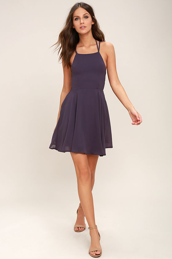 Good Deeds Dusty Purple Lace-Up Dress 2