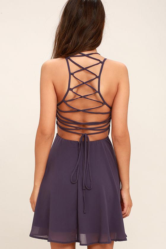 Good Deeds Dusty Purple Lace-Up Dress 4