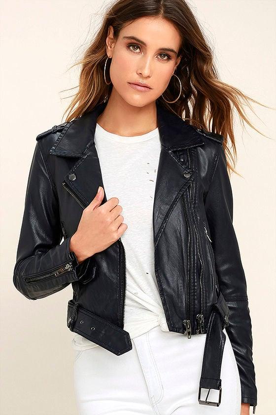 f6ee317b9 Blank NYC Uninvited Jacket - Midnight Blue Jacket - Vegan Leather ...