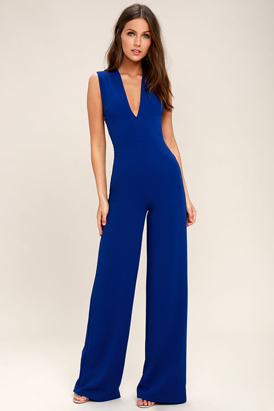 Chic Royal Blue Jumpsuit Backless Jumpsuit Sleeveless