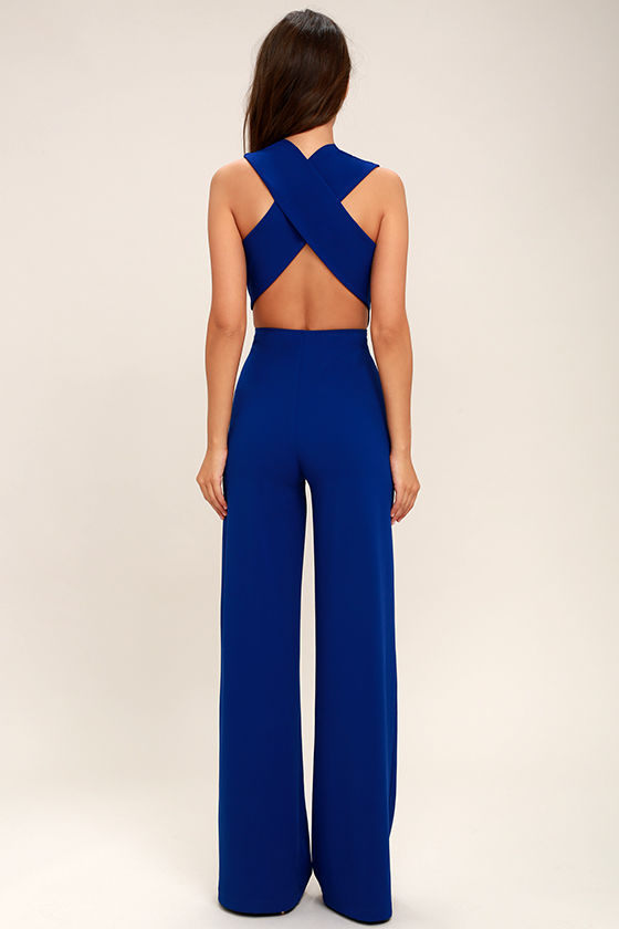 Thinking Out Loud Royal Blue Backless Jumpsuit 4