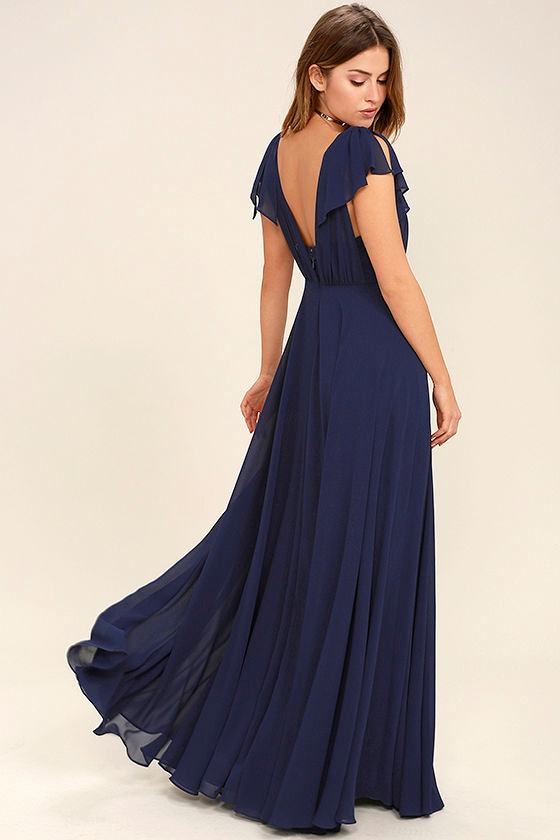 What Did Women Wear in the 1930s? 1930s Fashion Guide Falling For You Navy Blue Maxi Dress - Lulus $91.00 AT vintagedancer.com