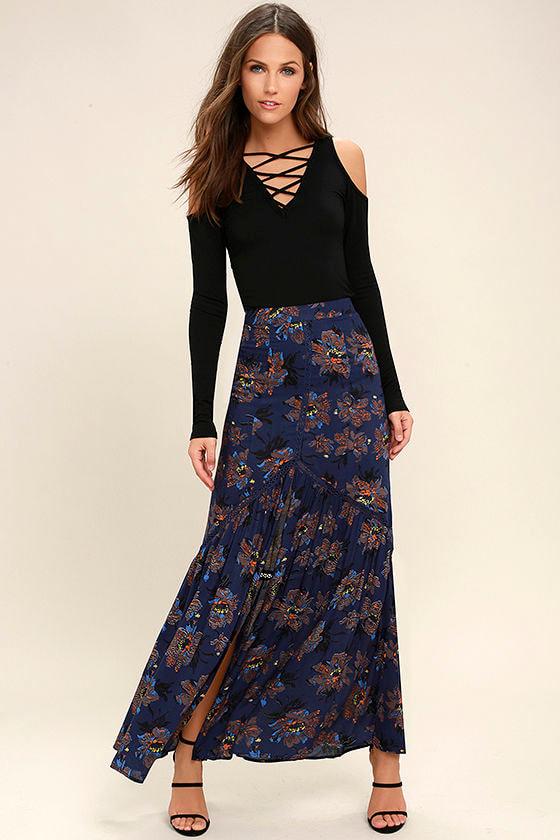 331488b91f1a Lovely Navy Blue Floral Print Skirt - Maxi Skirt - Mermaid Skirt ...