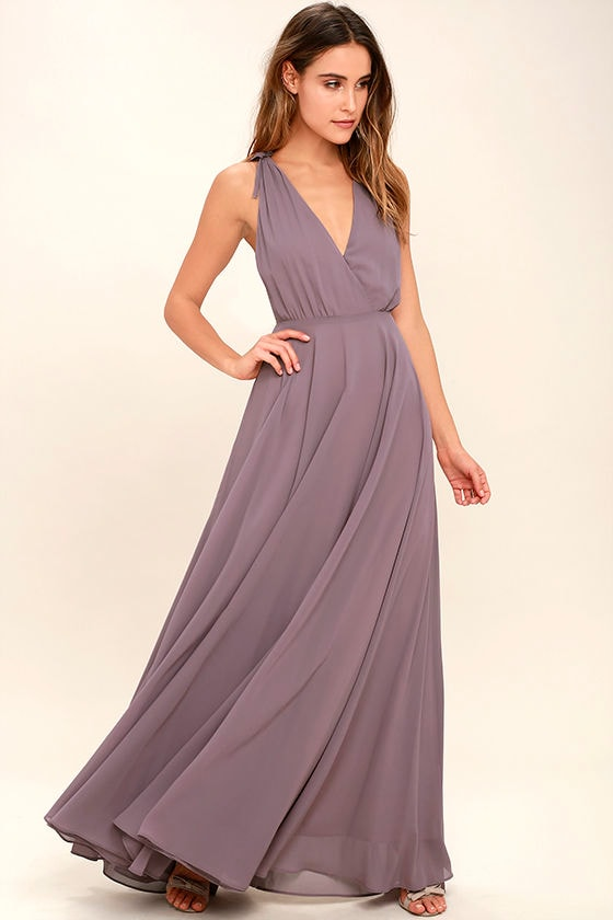 Dance the Night Away Dusty Purple Backless Maxi Dress