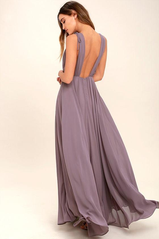 Dance the Night Away Dusty Purple Backless Maxi Dress 3