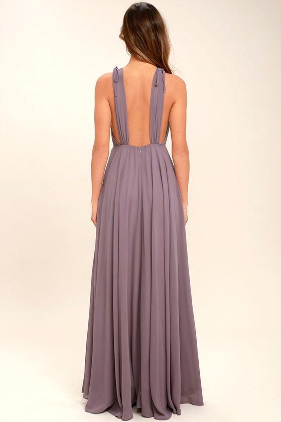 Dance the Night Away Dusty Purple Backless Maxi Dress 4
