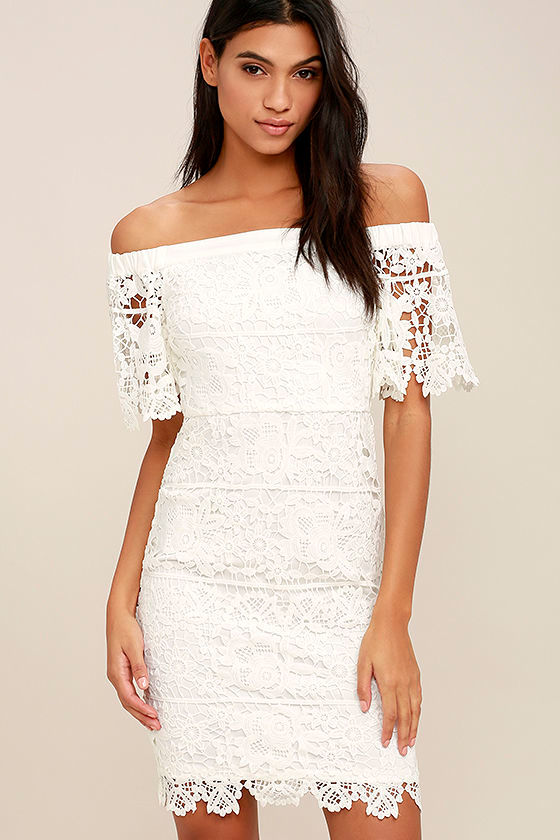 Sexy White Midi Dress - Lace Dress - Off-the-Shoulder Dress - $64.00
