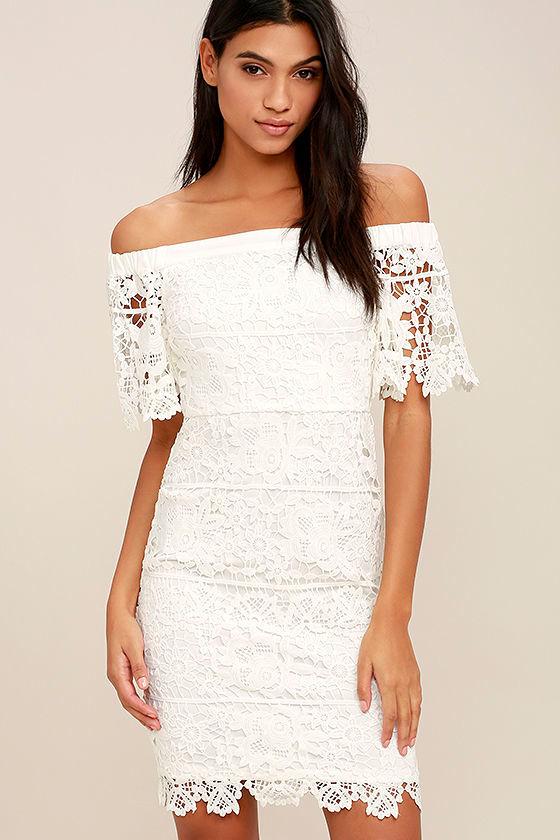 A Bit of Romance White Lace Off-the-Shoulder Dress