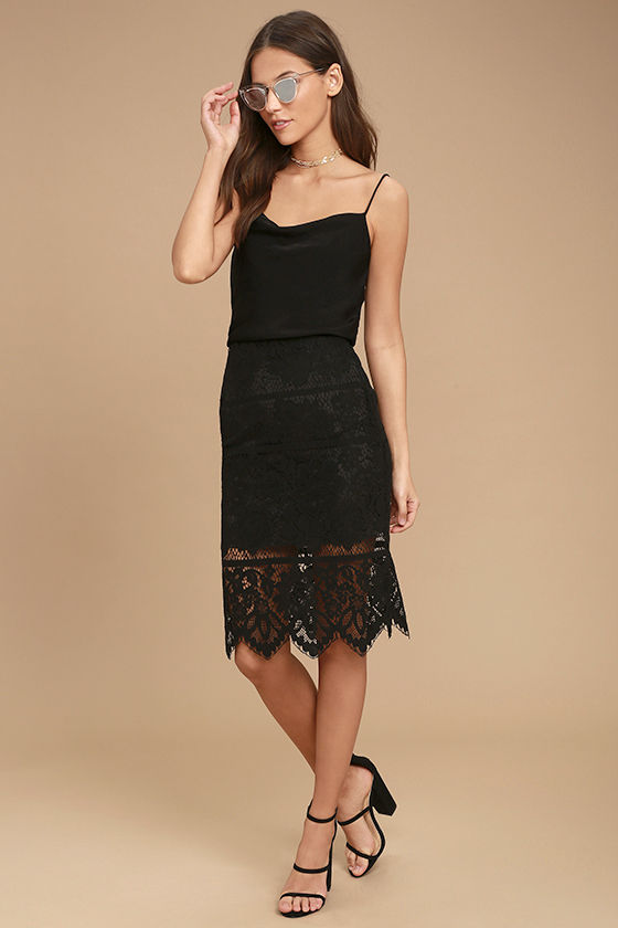Swoon-light Black Lace Midi Skirt 3