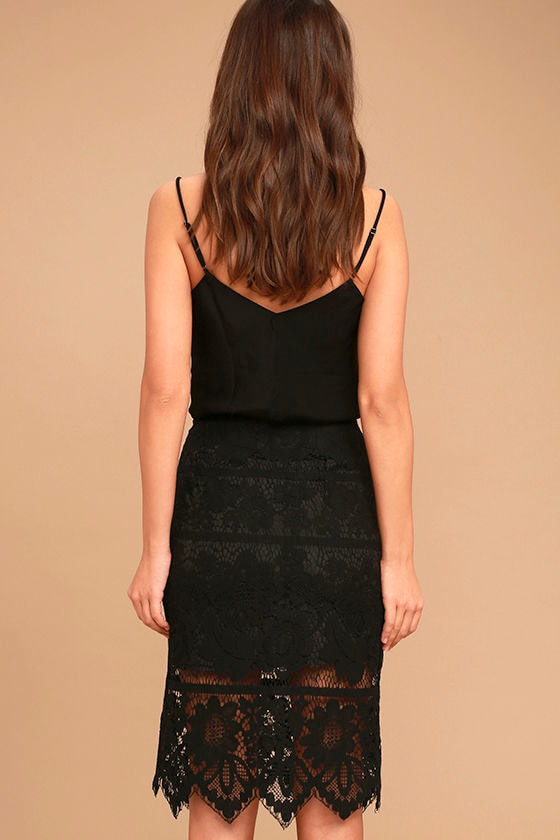 Swoon-light Black Lace Midi Skirt 4