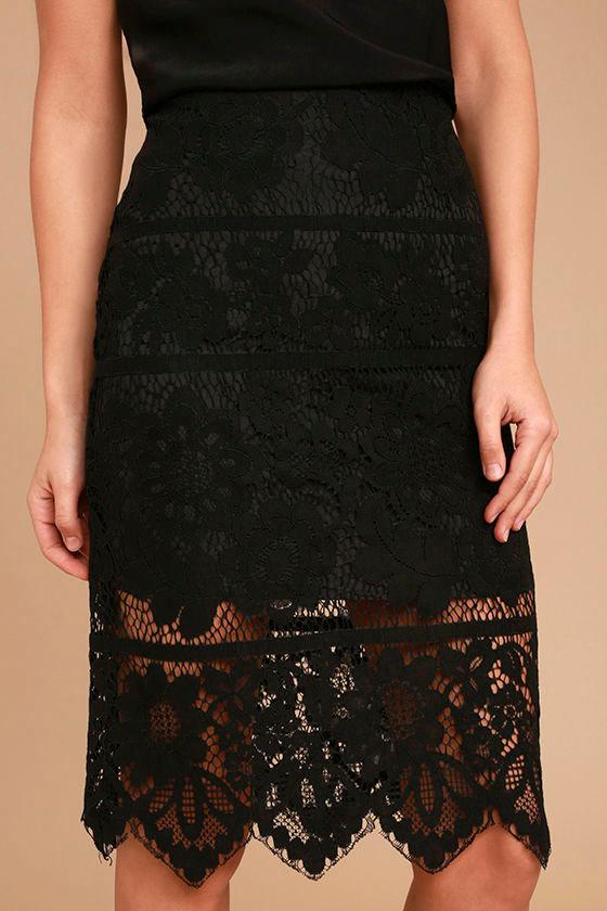Swoon-light Black Lace Midi Skirt 6