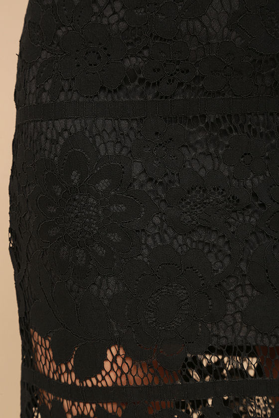 Swoon-light Black Lace Midi Skirt 7