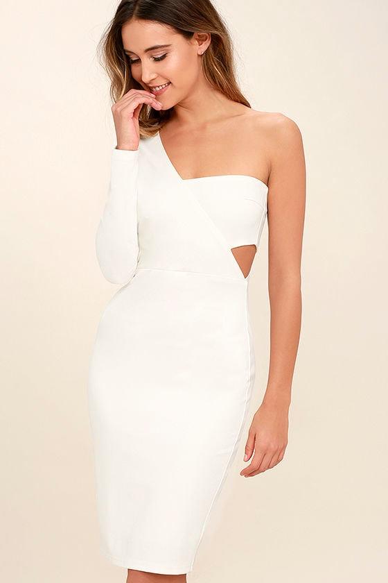 One shoulder white dresses for women