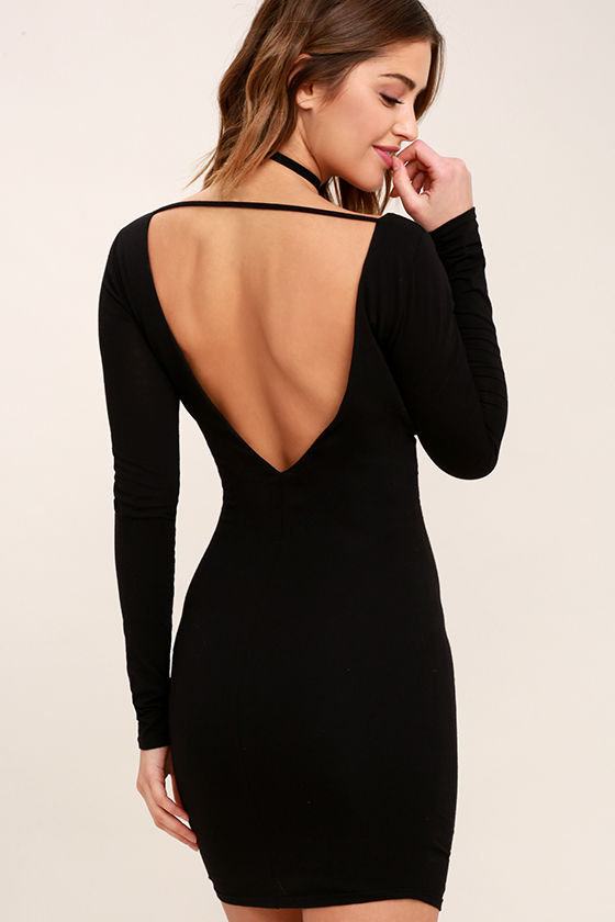 Sexy Black Dress Bodycon Dress Long Sleeve Dress Backless