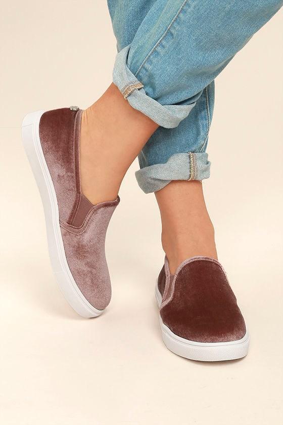 1e19bbef5a0 Steve Madden Ecntrcv Sneakers - Blush Velvet Sneakers - Slip-On ...